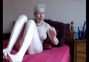Amateur. comely gung-ho granny masturbates