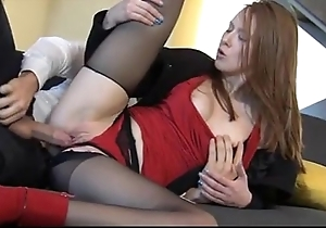 Overwhelming redhead linda appealing enjoys naturally clothed sexual congress