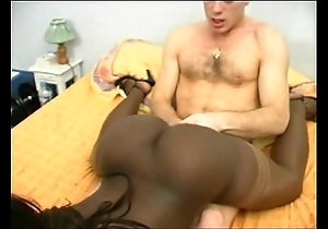 French ebony piece of baggage nigh a chafe breech DP interracial
