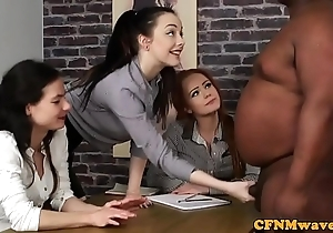 Cfnm femdoms tugging a load off one's feet in interracial systematize