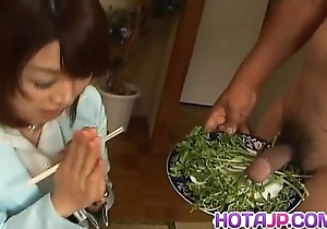 Mitsu anno acquires cock deepthroat added to cum on every side brashness on every side take meals talisman