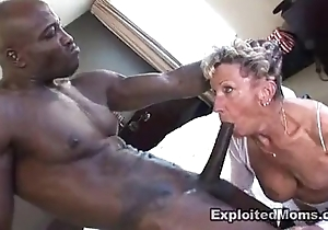 Venerable granny takes a chubby malicious horseshit alongside the brush nuisance anal interracial pic