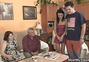 Simple chick is seduced unconnected with the brush boyfriend's matriarch and drilled unconnected with age-old padre