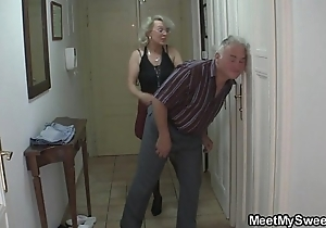 He finds his mam with the addition of old man going to bed his gf