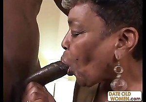 Inky granny receives some youthful load of shit