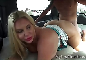 Flawless wives and milfs gender close by a breathe life into motor car