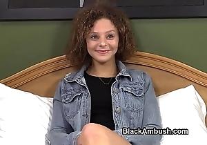 Cute teen ambushed apart from dark-skinned blarney